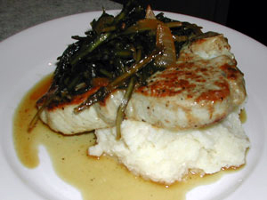 Pork Chop, Braised Dandelion Greens, Ricotta Whipped Potatoes with Apple Jus