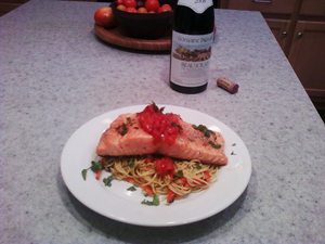 Roasted Salmon, Noodle Salad with Tomato Jam