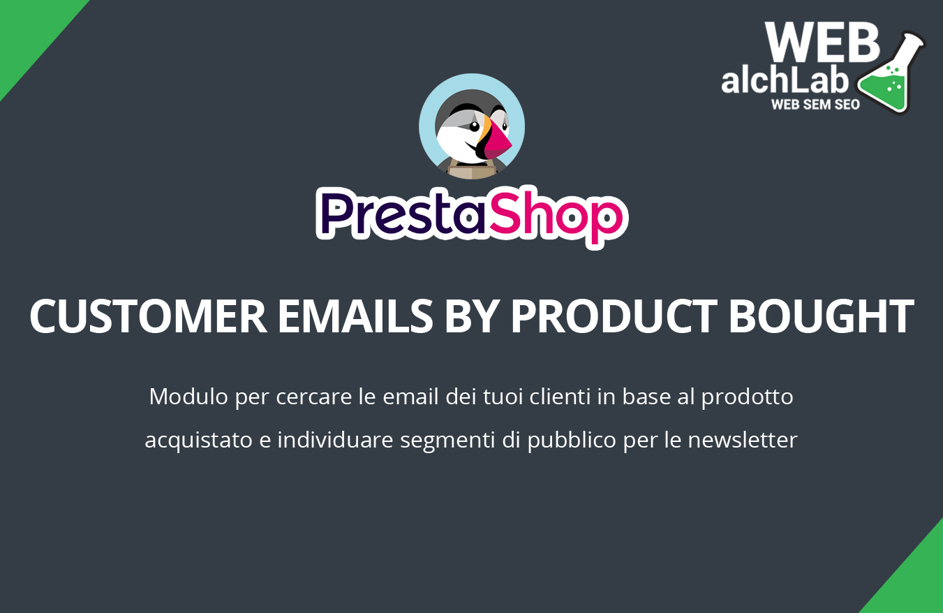 """Modulo """"Customer Emails by Product Bought"""" per Prestashop"""