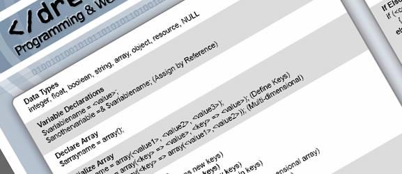 PHP reference sheet - basics