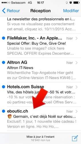 """A présent regardez la différence avec le mail envoyé par eboutic, ils ont ajouté une icône au début du titre de la newsletter. Avant même de lire quoi que ce soit, mon regard a été attiré et je me dis... """"C'est quoi ?""""."""