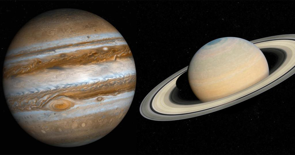 Double planet featuring Saturn and Jupiter