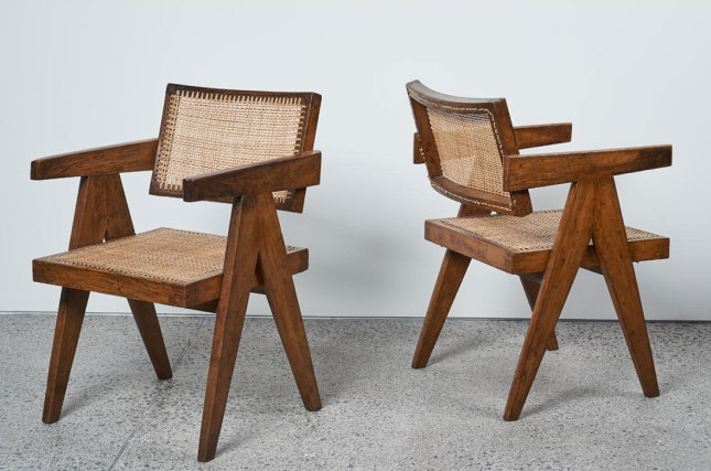 Lot 691: A Pair of Pierre Jeanneret Chandigarh Chairs PJ-SI-28-A Estimate: $18,000 - $22,000