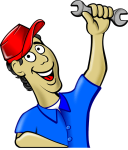 Graphical image of a man holding a wrench