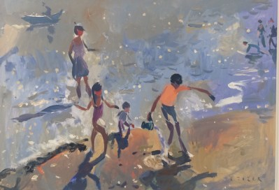 Children at the beach. Acrylic on board, 79 x 56cm