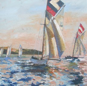 Warm day on the working boats - 40cm x 40cm