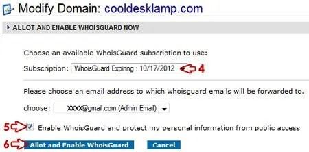 Modify Domain: Choose WhoisGuard