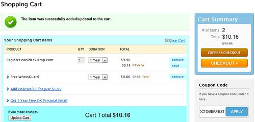 Shopping Cart with Coupon Code
