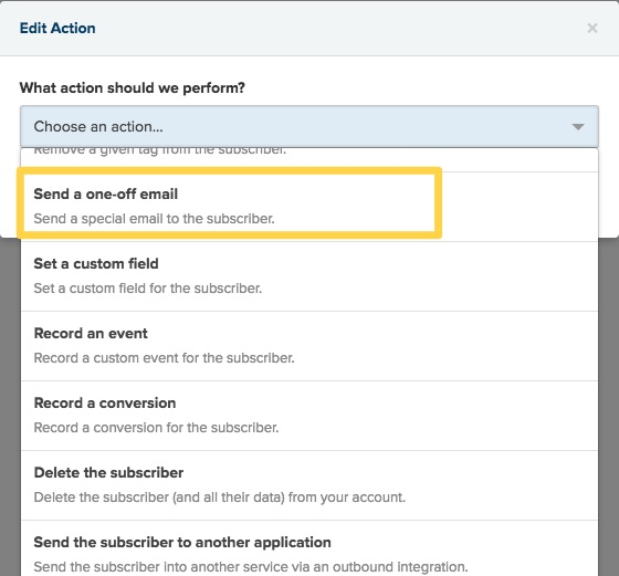 Send one off email in Drip Workflow Automation