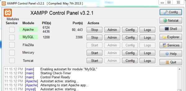 xampp control panel|webcoachbd