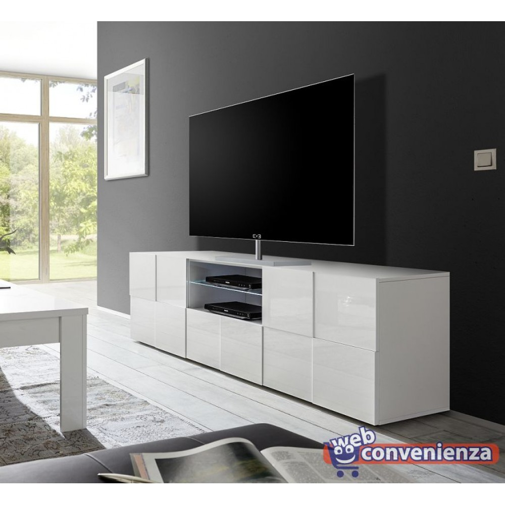 Mobile bagno ingresso soggiorno casa moderno legno marrone vetro oscurato nero. Dama Porta Tv Contenitore 2 Ante 1 Cassetto Bianco Lucido