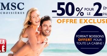 Offre Exclusive MSC Croisières : -50% pour la deuxième personne