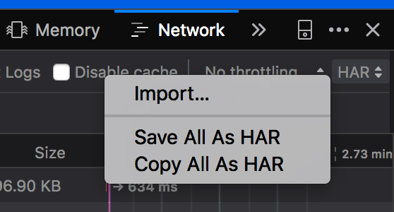 Screenshot of HAR import and foreign trade menu in DevTools