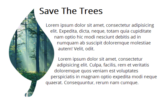 Save The Trees mockup with leaf-shaped icon, and flowed lorem ipsum text