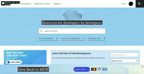Image displaying banner placement on the footer associated with MDN