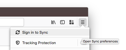 Sign in to Sync Button within the Firefox Menu