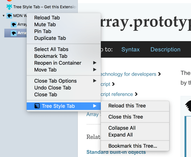 A custom context menu utilized by the Tree Style Tab extension