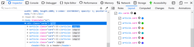 The Firefox DevTools open to show the different ways that subgrids are highlighted.