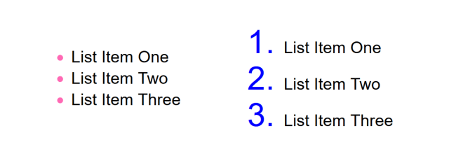 An ordered and unordered list with styled bullets