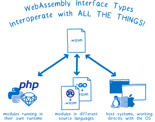 A wasm file with arrows pointing to and from: logos for different runtimes (Ruby, php, and Python), other wasm files compiled from Rust and Go, and host systems like the OS or browser