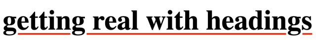 a heading with a thick, red, offset underline that isn't drawn over the heading's descenders