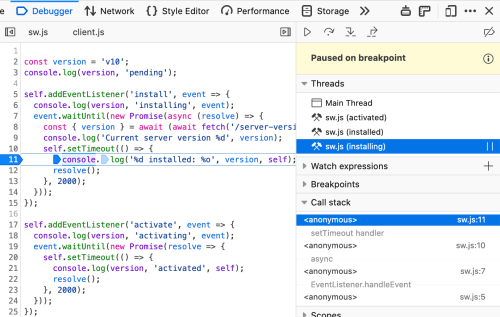 Recent Debugger features, Service Workers and Async Stack Traces, in action