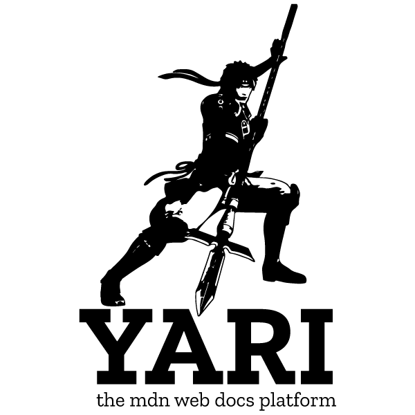 icon for yari, includes a man with a spear, plus the text yari, the mdn web docs platform