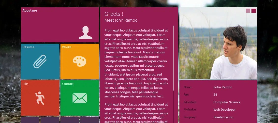 metroMe - Concrete5 Responsive vCard Theme
