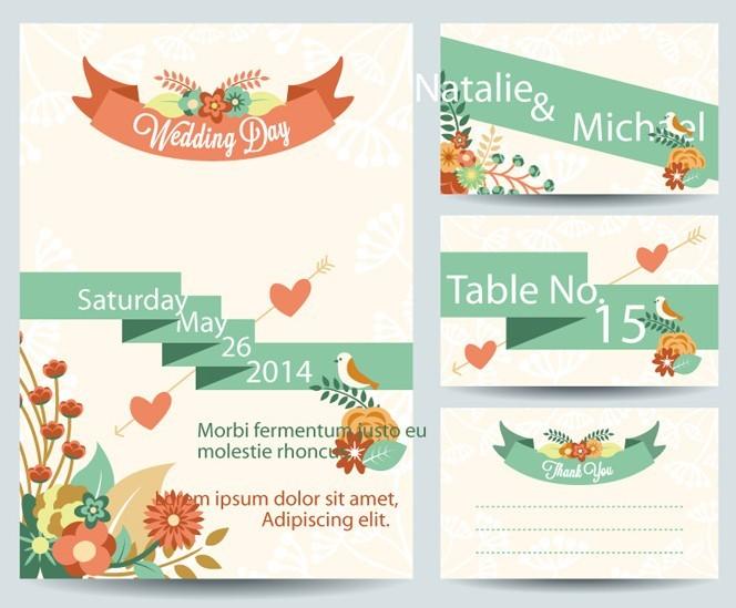 Retro Romantic Wedding Card Template Vector