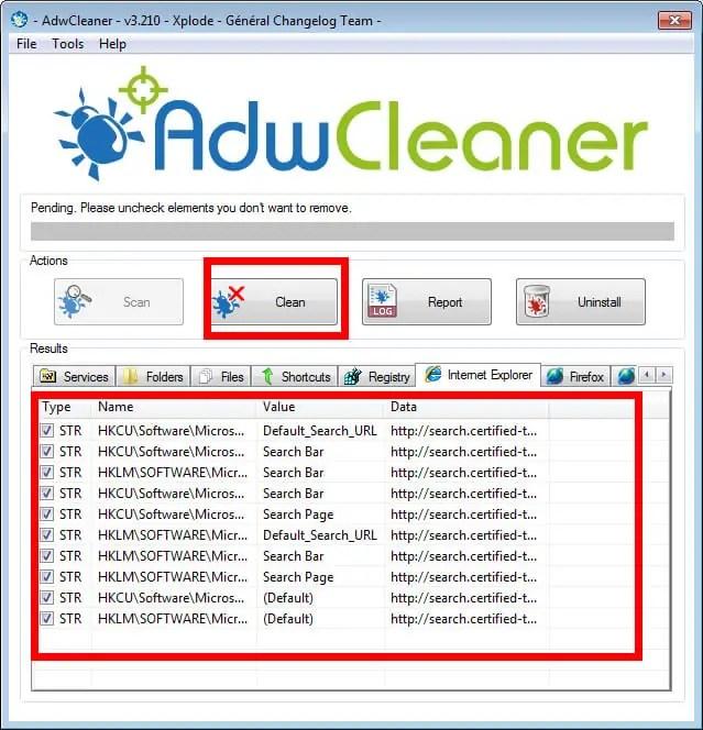 adware clear yardımı ile reklam virüslerinin regedit girdilerini ve tarayıcı üzerinde işlem yapabilen java dosyalarını bulup siz istediğinizde silecektir Resim 1.2