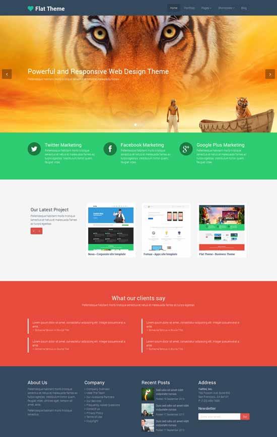 Flat Theme - Tema WordPress gratuito desarrolado con Bootstrap