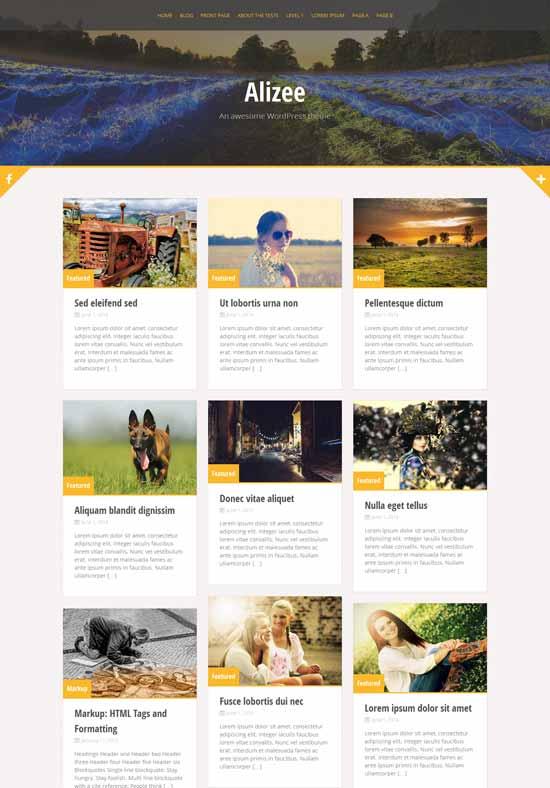 Alizee - Tema WordPress gratuito con Bootstrap