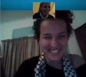 Capture d'écran, conversation entre Amine et Femen via Skype - photo (femen.org)