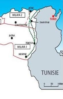 Tebessa, carte  Algérie-Tunisie - photo (thedailynetpost.blogspot.com)