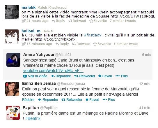 Tweets, Mme Rhein, l'épouse de Marzouki