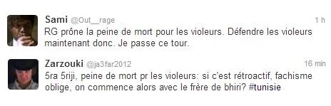 Tweets réactions, Ghannouchi- les violeur devraient se voir infliger une peine capitale, 01-04-13