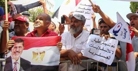 Manifestation pro Morsi d'Ennahdha, Av. Bourguiba, Tunis, 13-07-13 - (photo demotix.com)
