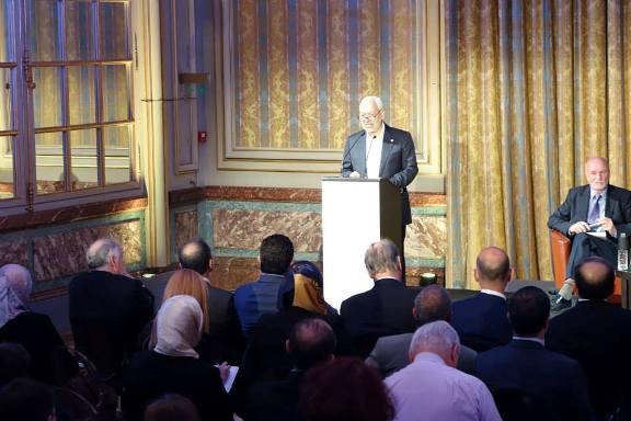 Rached Ghannouchi à l'Académie diplomatique internationale.  Crédit Photo François Burgat 20 juin 2014