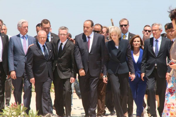 Les ministres de l'intérieur tunisien, français, allemand et britannique à Sousse   Photo : Khaled Nasraoui