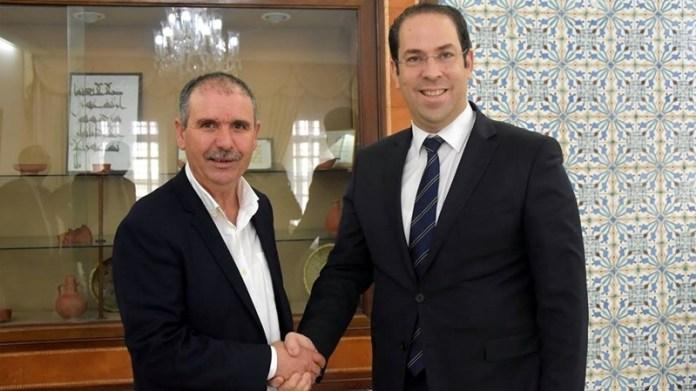Nouredine Taboubi, secretaire général de l'UGTT et Youssef Chahed, chef du gouvernement (photo - Mosaique)