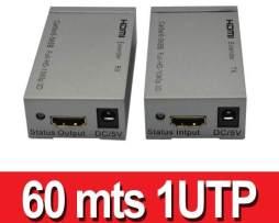 Extensores Hdmi Por Utp 60 Metros Cat5u/6 1 Solo Cable Utp