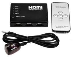 Switch Hdmi Selector 5 Entradas A 1 Salida + Control Remoto