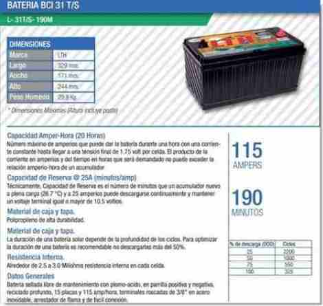 Bateria Ciclo Profundo Lth Solar 115ah L-31t/s-190 en Web Electro