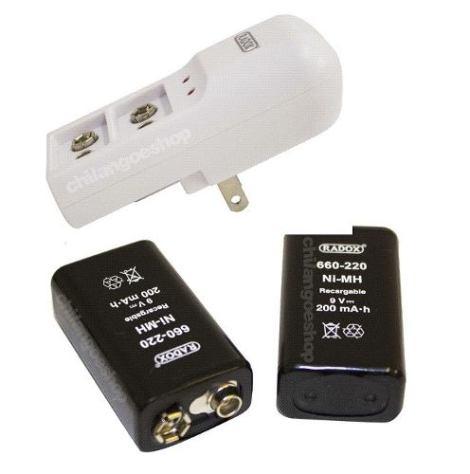 Cargador + 2 Baterias Pilas Cuadradas 9v Recargables en Web Electro