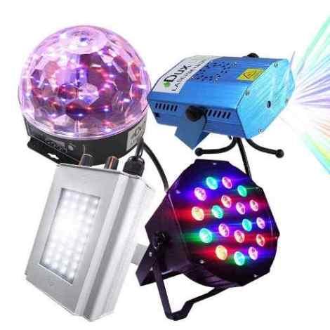 Kit Luces Disco Audio Rítmico Estrobo Efectos Bola Led Laser en Web Electro