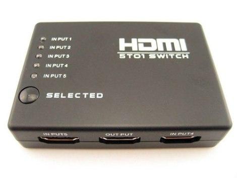 Switch Hdmi Selector 5 Entradas A 1 Salida + Control Remoto en Web Electro