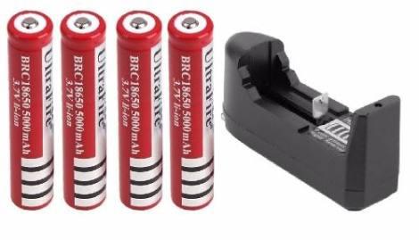4 Baterias Brc 18650 Recargables + Cargador