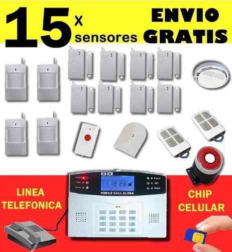 Alarma Con 15 Sensores Alertas A Celular Y Linea Telefonica en Web Electro
