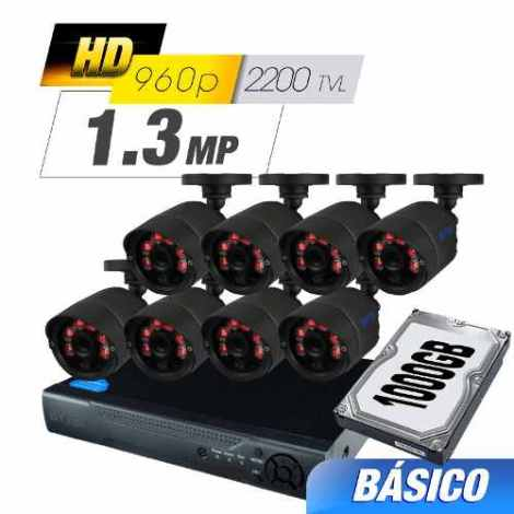Kit Cctv 8 Cámaras Ahd 1.0 Mp 2200tvl Grabador Cable Utp Hdd en Web Electro
