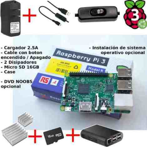 Raspberry Pi 3+ Fuente 2.5a Boton On/off Case+ Disipador+ Sd en Web Electro